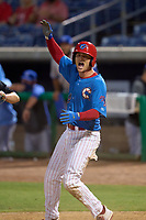 Clearwater Threshers Ben Pelletier (19) celebrates after scoring the game winning run against the Dunedin Blue Jays on May 18, 2021 at BayCare Ballpark in Clearwater, Florida.  (Mike Janes/Four Seam Images)