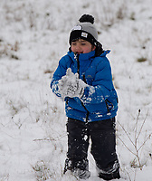 A young boy enjoying a snowball fight following snowfall at Foots Cray Meadow, Sidcup, Kent, England on the 9 February 2021. Photo by Alan Stanford.