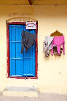 India, Rishikesh.  Door to a Residence.