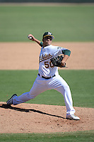 Oakland Athletics pitcher Ronald Herrera (50) during an instructional league game against the San Francisco Giants on September 27, 2013 at Papago Park Baseball Complex in Phoenix, Arizona.  (Mike Janes/Four Seam Images)