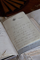 Archived family letters bound together in an album