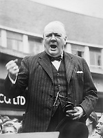 Winston Churchill during the General Election Campaign in 1945 The Prime Minister Winston Churchill makes a speech in Uxbridge, Middlesex, during the general election campaign on 27 June 1945.