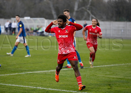 8th November 2020; SkyEx Community Stadium, London, England; Football Association Cup, Hayes and Yeading United versus Carlisle United; Omar Rowe of Hayes & Yeading United celebrates after scoring sides 1st goal in the 104th minute to make it 1-0