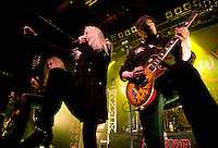 SAXON live at Glasgow ABC<br /> <br /> Biff Byford – vocals (1976–present)<br /> Paul Quinn – guitars, (1976–present)<br /> Nigel Glockler – drums (1981–1987, 1988–1999, 2005–present)<br /> Nibbs Carter – bass (1988–present)<br /> Douglas Scarratt – guitars (1996–present)<br /> <br /> Saxon are an English heavy metal band formed in 1976, in Barnsley, South Yorkshire. As one of the leaders of the New Wave of British Heavy Metal, they had eight UK Top 40 albums in the 1980s including four UK Top 10 albums and two Top 5 albums. The band also had numerous singles in the UK Singles Chart and chart success all over Europe and Japan, as well as success in the US. During the 1980s Saxon established themselves as one of Europe's biggest metal acts. The band tours regularly and have sold more than 15 million albums worldwide. They are considered one of the classic metal acts and have influenced many bands