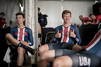 Lawson Craddock (USA/EF Education - Nippo) waiting backstage for the final results<br /> <br /> Mixed Relay TTT <br /> Team Time Trial from Knokke-Heist to Bruges (44.5km)<br /> <br /> UCI Road World Championships - Flanders Belgium 2021<br /> <br /> ©kramon