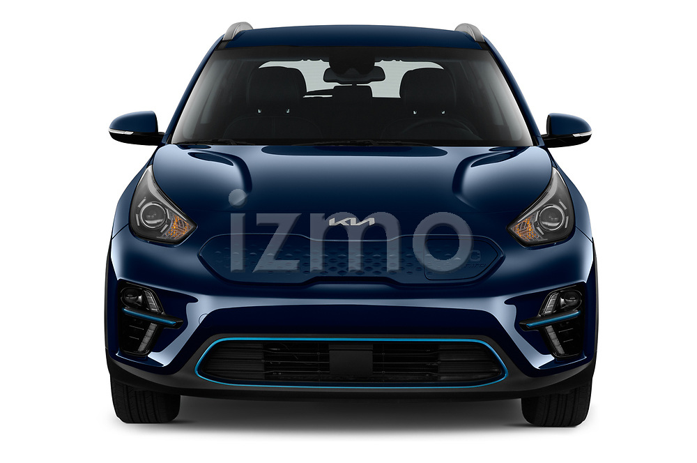 Car photography straight front view of a 2022 KIA Niro-EV EX 5 Door Hatchback Front View