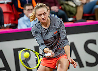 The Hague, The Netherlands, Februari 7, 2020,    Sportcampus, FedCup  Netherlands -  Balarus, Seccond match on friday: Aliaksandra Sasnovich (BLR)<br /> Photo: Tennisimages/Henk Koster