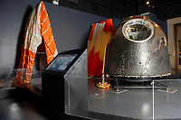 Pictured: A general view of Tim Peake's Spacecraft Exhibition that is being held at the National Museum Cardiff, Cardiff, South Wales, UK. Thursday 15 November 2018