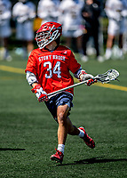 1 May 2021: Stony Brook University Seawolves Attacker Dylan Pallonetti, a Redshirt Freshman from Stony Brook, NY, in action against the University of Vermont Catamounts at Virtue Field in Burlington, Vermont. The Cats edged out the Seawolves 14-13 with less than one second to play in their America East Men's Lacrosse matchup. Mandatory Credit: Ed Wolfstein Photo *** RAW (NEF) Image File Available ***