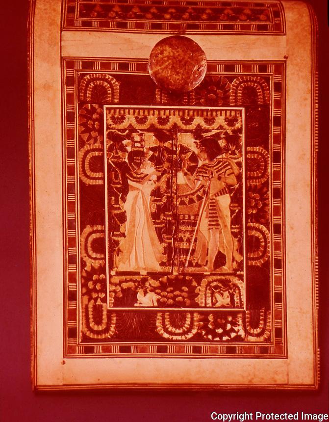 Egypt:  Ornate Chest--gold inlaid with gems.  Treasures of Tutankhamun, Cairo Museum.  MMA 1976.