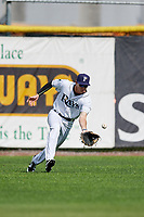 Princeton Rays right fielder Beau Brundage (16) fields a ball during the second game of a doubleheader against the Greeneville Reds on July 25, 2018 at Hunnicutt Field in Princeton, West Virginia.  Greeneville defeated Princeton 8-7.  (Mike Janes/Four Seam Images)