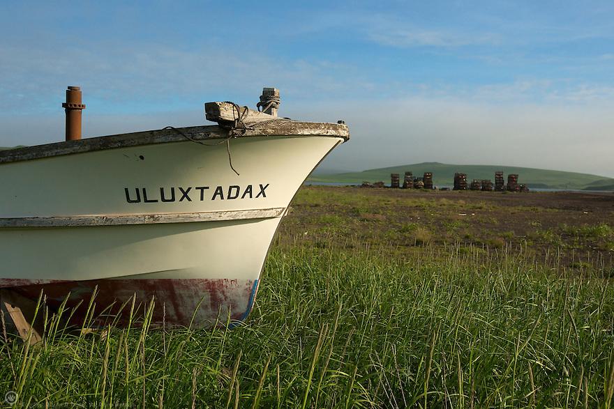 North America, USA, Alaska, St Paul Island. Uluxtadax boat and crab pots waiting for the season.