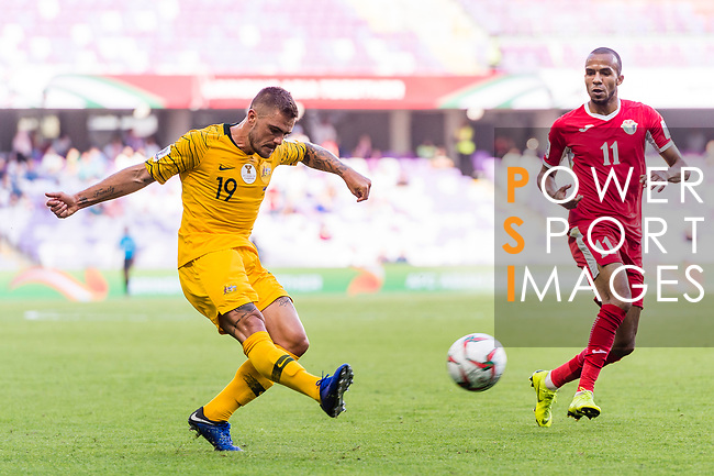Josh Risdon of Australia (L) in action during the AFC Asian Cup UAE 2019 Group B match between Australia (AUS) and Jordan (JOR) at Hazza Bin Zayed Stadium on 06 January 2019 in Al Ain, United Arab Emirates. Photo by Marcio Rodrigo Machado / Power Sport Images