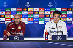 Peter Bosz and Julian Baumgartlinger during the Press Conference before the UEFA Champions League match between Atletico de Madrid and Bayer 04 Leverkusen at Wanda Metropolitano Stadium in Madrid, Spain. October 21, 2019. (ALTERPHOTOS/A. Perez Meca)
