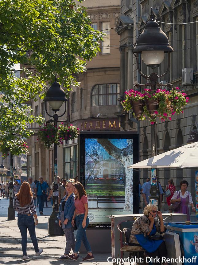 Fußgängerzone Knez Mihailova -Prinz-Michael-Straße, Belgrad, Serbien, Europa<br /> pedestrian area Knez Mihailova, Belgrade, Serbia, Europe