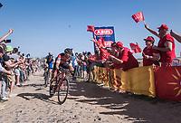 race leaders Greg Van Avermaet (BEL/BMC) & Zdenek Stybar (CZE/Quick Step Floors) at the Carrefour de l'Arbre sector<br /> <br /> 115th Paris-Roubaix 2017 (1.UWT)<br /> One Day Race: Compiègne › Roubaix (257km)