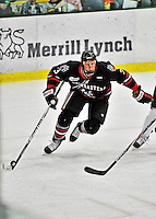 28 January 2012: Northeastern University Huskies' defenseman Josh Manson, a Freshman from Prince Albert, Saskatchewan, in action against the University of Vermont Catamounts at Gutterson Fieldhouse in Burlington, Vermont. The Huskies defeated the Catamounts 4-2 in the second game of their 2-game Hockey East weekend series. Mandatory Credit: Ed Wolfstein Photo