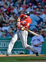 9 June 2012: Washington Nationals outfielder Rick Ankiel in action against the Boston Red Sox at Fenway Park in Boston, MA. The Nationals defeated the Red Sox 4-2 in the second game of their 3-game series. Mandatory Credit: Ed Wolfstein Photo
