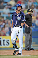 Asheville Tourists center fielder David Dahl #21 during opening night game against the Delmarva Shorebirds at McCormick Field on April 3, 2014 in Asheville, North Carolina. The Tourists defeated the Shorebirds 8-3. (Tony Farlow/Four Seam Images)