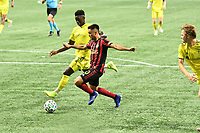 """ATLANTA, GA - AUGUST 22: Gonzalo """"Pity"""" Martinez #10 shoots on goal during a game between Nashville SC and Atlanta United FC at Mercedes-Benz Stadium on August 22, 2020 in Atlanta, Georgia."""