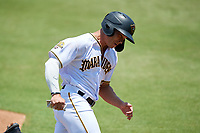 Bradenton Marauders Deon Stafford (37) rounds third base to score a run during a Florida State League game against the Tampa Tarpons on May 26, 2019 at LECOM Park in Bradenton, Florida.  Bradenton defeated Tampa 3-1.  (Mike Janes/Four Seam Images)