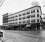 Exterior of Waterbury Hotel, on West Main Street in Waterbury, circa 1929.