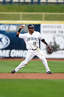 Lake County Captains second baseman Claudio Bautista (10) throws to first during a game against the Dayton Dragons on June 8, 2014 at Classic Park in Eastlake, Ohio.  Lake County defeated Dayton 4-2.  (Mike Janes/Four Seam Images)