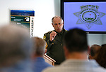 Sheriff Kenny Furlong speaks to the crowd at a promotion ceremony at Carson City Sheriff's Office, in Carson City, Nev., on Thursday, July 2, 2020. <br /> Photo by Cathleen Allison