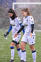 Febe Vanhaecke (3) of Club Brugge and Raquel Viaene (5) of Club Brugge  pictured before a friendly female soccer game between SC Eendracht Aalst and Club Brugge YLA on Saturday 16 January 2021 at Zandberg Youth Complex in Aalst , Belgium . PHOTO SPORTPIX.BE   SPP   SEVIL OKTEM