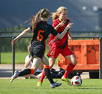 Robine Lacroix (6) of the Netherlands and Zoe Detry (5) of Belgium in action during an international friendly female soccer game between the national teams of Belgium , called the Red Flames U17 and the Netherlands on Wednesday 8th of September 2020  in Kalmthout , Belgium . PHOTO SPORTPIX.BE | SPP | SEVIL OKTEM