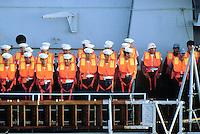 """- Italian Navy, crew on school cruiser """"Caio Duilio""""....- Marina militare italiana, equipaggio a bordo dell'incrociatore scuola """"Caio Duilio"""""""