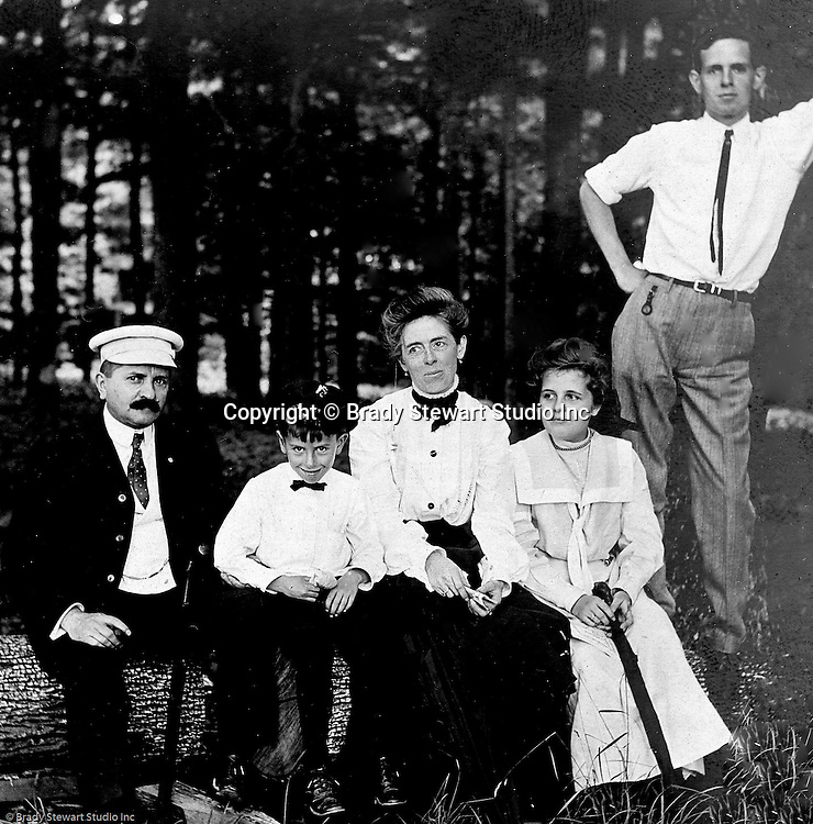 Stewart Township PA:  View of the Stewart family at Bear Run Park while visiting family.  Alice Brady Stewart's brother lived in the area. Stewart family in 1902, from left to right; Homer, Homer Jr, Alice, Helen, and Clark.