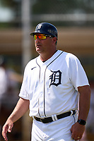 FCL Tigers West manager Ryan Minor (12) during a game against the FCL Yankees on July 31, 2021 at Tigertown in Lakeland, Florida.  (Mike Janes/Four Seam Images)
