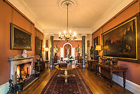BNPS.co.uk (01202) 558833. <br /> Pic: Duke's/BNPS<br /> <br /> Pictured: The Hall at Wormington Grange. <br /> <br /> The lavish contents of one of Britain's most beautiful stately homes have sold for almost £2million after capturing high society's imagination.<br /> <br /> Over 1,600 items were auctioned off from Wormington Grange, a neoclassical mansion in the Cotswolds, during the hotly contested three-day sale.<br /> <br /> The sale included what the auctioneers described as the 'most important' collection of country house furniture to emerge on the market for decades.