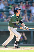 Third baseman Ryder Jones (15) of the Augusta GreenJackets bats in a game against the Greenville Drive on Sunday, July 13, 2014, at Fluor Field at the West End in Greenville, South Carolina. Jones was a second-round pick of the San Francisco Giants in the 2013 First-Year Player Draft. He is listed as the Giants' No. 15 prospect by Baseball America. Greenville won, 8-5. (Tom Priddy/Four Seam Images)