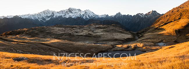 Sunrise over Southern Alps with main highest peaks Aoraki Mount Cook, Mount Tasman and La Perouse, Westland Tai Poutini National Park, UNESCO World Heritage Area, West Coast, New Zealand, NZ