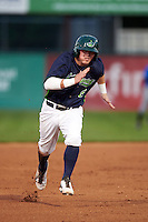 Vermont Lake Monsters third baseman Trace Loehr (6) running the bases during a game against the Hudson Valley Renegades on September 3, 2015 at Centennial Field in Burlington, Vermont.  Vermont defeated Hudson Valley 4-1.  (Mike Janes/Four Seam Images)