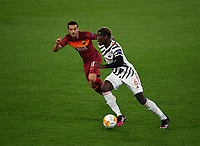 Football: Uefa Europa League - semifinal 2nd leg AS Roma vs Manchester United Olympic Stadium. Rome, Italy, May 6, 2021.<br /> Manchester United's Paul Pogba (R) in action with Roma's Pedro (L) during the Europa League football match between Roma and Manchester United at Rome's Olympic stadium, Rome, on May 6, 2021.  <br /> UPDATE IMAGES PRESS/Isabella Bonotto