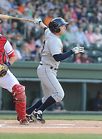 Infielder Dante Bichette, Jr. (19) of the Charleston RiverDogs, a New York Yankees affiliate, in a game against the Greenville Drive on June 2, 2012, at Fluor Field at the West End in Greenville, South Carolina. Greenville won, 10-4. Bichette is the Yankees' No. 6 prospect, according to Baseball America and was a first-round draft pick in 2011. (Tom Priddy/Four Seam Images)
