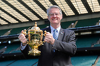 IRB and RWCL Chairman Bernard Lapasset with the Webb Ellis Trophy  during the Rugby World Cup 2015 Venues and Match Schedule Launch at Twickenham Stadium on Thursday 2nd May 2013 (Photo by Rob Munro)