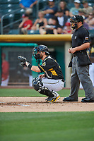 Joe Hudson (19) of the Salt Lake Bees on defense against the El Paso Chihuahuas at Smith's Ballpark on August 14, 2018 in Salt Lake City, Utah. El Paso defeated Salt Lake 6-3. (Stephen Smith/Four Seam Images)