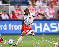 Toronto FC defender Marvell Wynne (16), attempts a shot on goal against the Chicago Fire.  Chicago Fire defeated Toronto FC by the score of 2-1 at Toyota Park stadium, in Bridgeview, Illinois on Saturday, July 12, 2008.