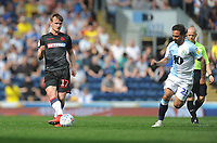 Bolton Wanderers' Callum Connolly under pressure from Blackburn Rovers' Bradley Dack<br /> <br /> Photographer Kevin Barnes/CameraSport<br /> <br /> The EFL Sky Bet Championship - Blackburn Rovers v Bolton Wanderers - Monday 22nd April 2019 - Ewood Park - Blackburn<br /> <br /> World Copyright © 2019 CameraSport. All rights reserved. 43 Linden Ave. Countesthorpe. Leicester. England. LE8 5PG - Tel: +44 (0) 116 277 4147 - admin@camerasport.com - www.camerasport.com