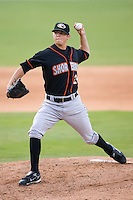 Starting pitcher Zach Britton (22) of the Delmarva Shorebirds in action versus the Kannapolis Intimidators at Fieldcrest Cannon Stadium in Kannapolis, NC, Wednesday, May 14, 2008.