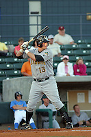 Matt Hague of the Lynchburg Hillcats at bat in a game against the Myrtle Beach Pelicans on April 28, 2009