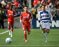 11 April 2009:Toronto FC defender Jim Brennan #11 and FC Dallas midfielder Andre Rocha #11 chase a ball during MLS action at BMO Field Toronto, in a game between FC Dallas and Toronto FC. .Final score was a 1-1 draw.