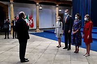OVIEDO, SPAIN - OCTOBER 16: King Felipe VI of Spain, Queen Letizia of Spain, Crown Princess Leonor of Spain (L) and Princess Sofia of Spain (R) attend an audience to congratulate the winners at the Reconquista Hotel during the 'Princesa De Asturias' Awards 2020 on October 16, 2020 in Oviedo, Spain <br /> CAP/MPI/RJO<br /> ©RJO/MPI/Capital Pictures