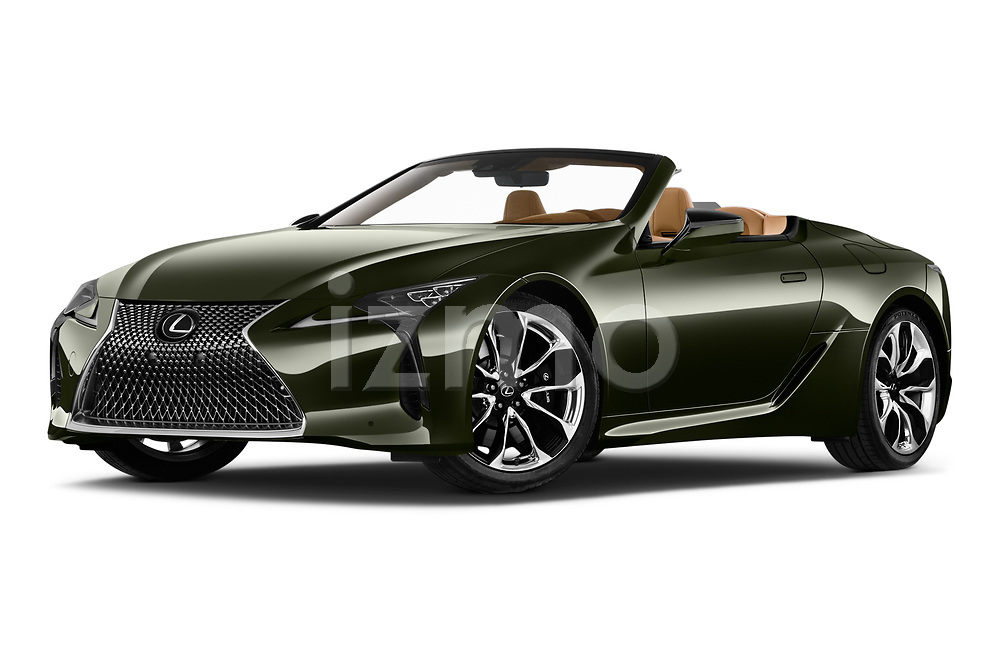 Stock pictures of low aggressive front three quarter view of 2021 Lexus LC 500-Base 2 Door Convertible Low Aggressive