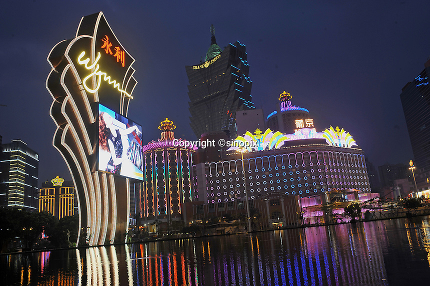 """Casinos light up the main boulevard and centre of Macau, 25th October 2008.  Macau is known simply as """"Vegas"""" in China. The former Potuguese colony, now a Chinese Special Administrative Region, attracts millions of Chinese gamblers annually and last year earned more gambling dollars than Las Vegas."""