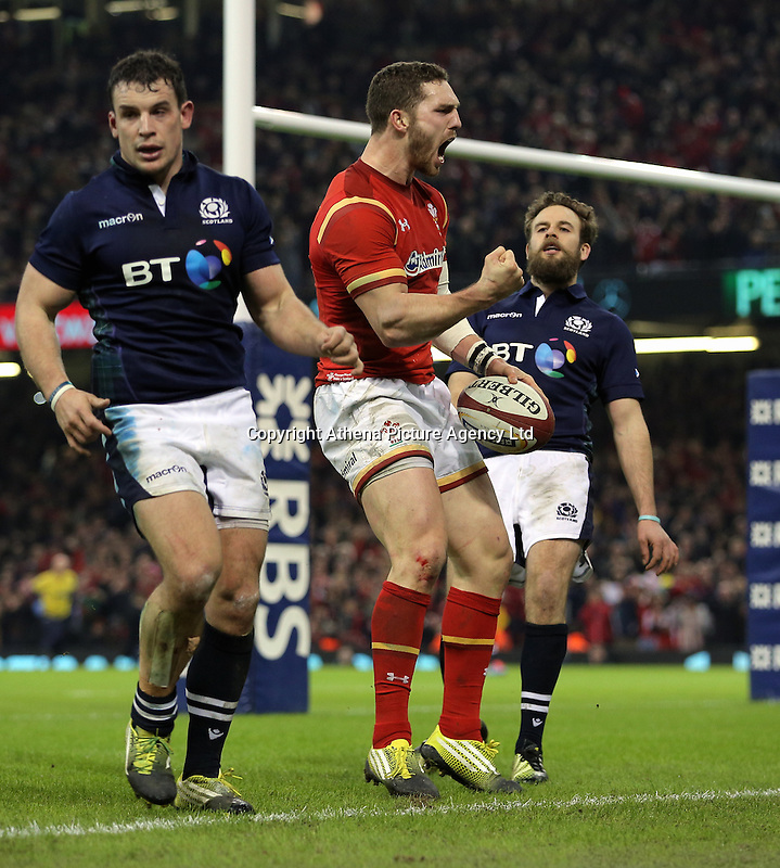 George North of Wales (C) celebrates his try during the RBS 6 Nations Championship rugby game between Wales and Scotland at the Principality Stadium, Cardiff, Wales, UK Saturday 13 February 2016